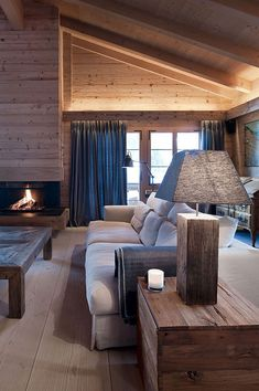 Architecture, Wooden Table Lamp Rustic Living Room Chalet House Design With White Sofa Gray Window Curtains And Wooden Wall Ideas ~ Elegant and Cozy Chalet Located in Gstaad Chalet Design, Chalet Style, House Design, Design Design, Design Ideas, Chalet Interior, Interior And Exterior, Interior Design, Modern Interior