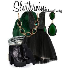 """""""Slytherin: Holiday Party ~Wendy Darling"""" by the-fandom-gals on Polyvore"""