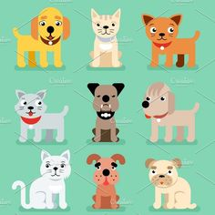 Puppy and kitten pet flat icons. Pet Icons