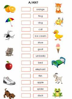 Indefinite articles: a-an Language: English Grade/level: Grade 1+ School subject: English as a Second Language (ESL) Main content: Indefinite articles Other contents: nouns