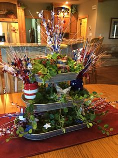 Fourth of July in tiered trays