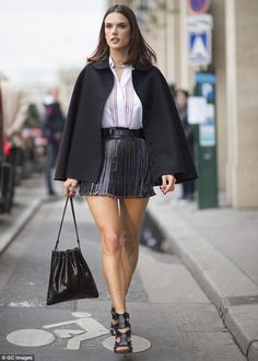 Pins on parade: Alessandra Ambrosio ensured her perfect pins were centre stage as she used...