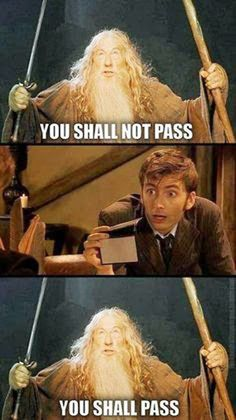 lol :p [10th Doctor from Doctor Who using psychic paper to get past Gandalf from The Lord of the Rings]