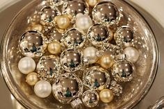 Christmas ornaments mixed with blingy buttons