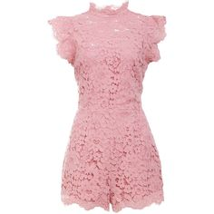 BB Dakota Feminine Scalloped Lace Romper ($110) ❤ liked on Polyvore featuring jumpsuits, rompers, pink, bb dakota, red romper, bb dakota romper, pink lace romper and red rompers