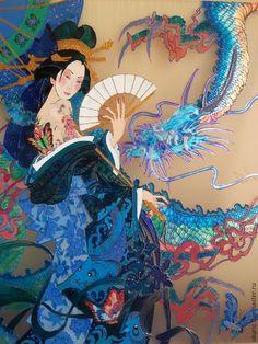 Купить КАРТИНА ВИТРАЖНАЯ - бирюзовый, Витраж, картина для интерьера, восточный стиль, картина в детскую