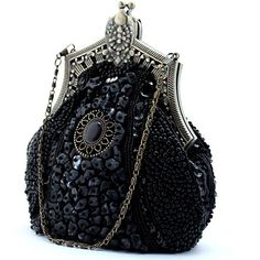 BEA119 Fully Beaded Victorian Clutch Handbag Vintage Evening Purse... ($30) ❤ liked on Polyvore featuring bags, handbags, clutches, beaded clutches, black evening purse, beaded evening purse, special occasion clutches and evening purse