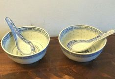 Set of 2 boxed Rice Pattern Soup Bowls & spoons Soup Bowls, Rice Bowls, Japanese Rice, Miso Soup, Spoons, Oriental, Pattern, Ebay, Spoon