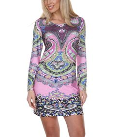Look at this White Mark Purple & Pink Abstract Paisley Scoop Neck Dress - Women on #zulily today!