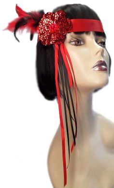 Red Flame Roaring 20's Flapper Gatsby Feathered by JenkittysCloset, $20.00