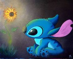 stitch sunflower disney painting by cloud saatchi Cute Patterns Wallpaper, Aesthetic Pastel Wallpaper, Disney Canvas Paintings, Canvas Art, Stitch Tattoo, Sunflower Drawing, Sunflower Wallpaper, Lilo And Stitch, Disney Stitch