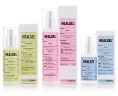 Packaging with pastel colour labels designed by Pentagram for high quality skin care range Healgel.