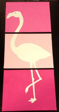 Three piece flamingo painting