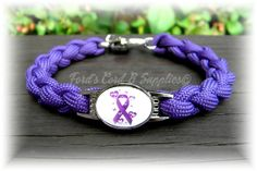 Alzheimer's, Domestic Violence, Pancreatic Cancer, Epilepsy, Lupus, Chron's Disease, Cancer Awareness Paracord Bracelet Custom and Handmade on Etsy, $15.50