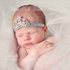 Baby Headband Princess Tiara Headband PInk Baby by ThinkPinkBows