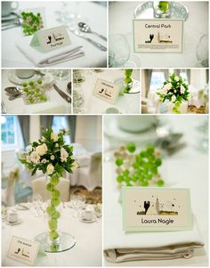 Caroline Lavelle-Nicholson Photography: Laura and Paul - {An Orsett Hall Wedding} Stationery by www.bunnydelicious.com depicting New York themed place cards and table names in sage green