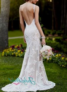 JW15031 sexy backless strappy lace sheath wedding dress 2015 ...