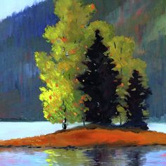 Island Trees Landscape Painting by Nancy Merkle