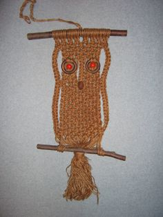 Very Large 1960s 1970s Vintage Night Owl Macrame Wall Hanging