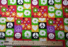 Peace Signs & Flowers Fabric, Yardage, Fat Quarter, FQ, by the Yard, Folk Fabric, Hippy Fabric, 1960s Style, Smiley Face, Colorful Fabric