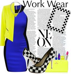 """Neon Work"" by madmandy ❤ liked on Polyvore"