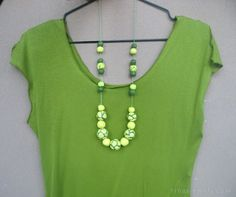 Lime green necklace  Yellow bead necklace  Long by RinasJewels