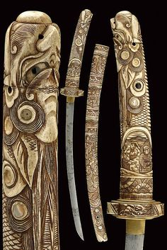 A katana with chiselled mounts