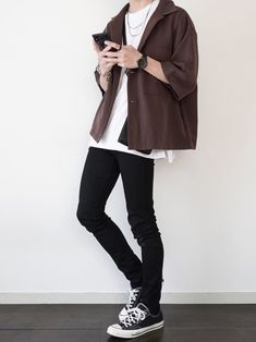 Indie Fashion Men, Korean Fashion Men, Mens Fashion Week, Korea Fashion, Streetwear Fashion, Stylish Mens Outfits, New Outfits, Cool Outfits, Casual Outfits