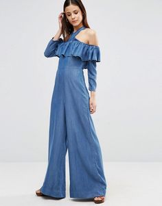 65672d8888a ASOS Denim Off Shoulder Ruffle Jumpsuit With Super Wide Leg Denim Jumpsuit