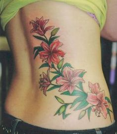 August 19 2007 Tattoo Gallery - Pictures of Tattoos by Various Artists: Pink Lily Flowers Backpiece Tattoo