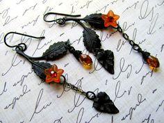 #Woodland #Leaf #Earrings #Vintage #Art #Metal #Swarovski #Crystals #Lucite #Flowers #jewelry #thecraftstar $18.00