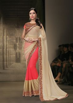 Buy Beige Chiffon Half and Half Saree With Blouse 70529 with blouse online at lowest price from vast collection of sarees at Indianclothstore.com.