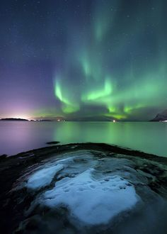✮ Aurora Borealis over Vagsfjorden outside of Harstad in Northern Norway