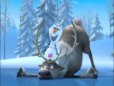 Olaf on top of Sven! Frozen #photoshop