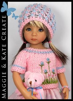 """Pink & Blue + Bear Outfit for Little Darlings Effner 13"""" by Maggie & Kate Create"""