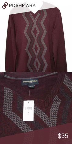 Mens Banana Republic Cotton Sweater Size Large Brand new (with store tags) men's Banana Republic cotton v-neck sweater The sweater is size large with 36 inches sleeves.   Burgundy or wine color; shades of gray design on the front.  100% cotton The bottom of the sweater is ribbed. The sleeve length is 36 inches From armpit to armpit is 23 3/4 inches The length down the center back, from top to bottom, is 28 inches Banana Republic Sweaters V-Neck
