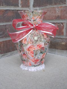 Gorgeous Glass Floral Decoupaged Vase