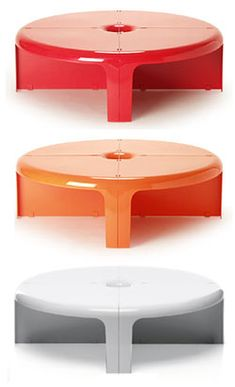 Quattro Quarti stackable table set - Rodolfo Bonetto, 1969 - B-line Coffee Tables For Sale, Coffe Table, 70s Furniture, Circular Coffee Table, B Line, Module, Museum Of Modern Art, Industrial Design, Vintage Designs
