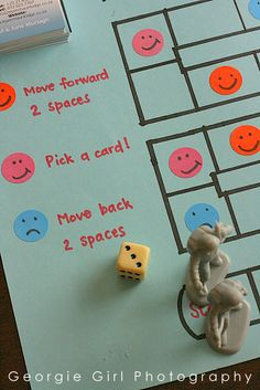 I created this board game for play therapy , but Big One spotted it lying on the dining room table and wanted a go. Board games are gene. Therapy Games, Therapy Tools, Play Therapy, Therapy Activities, Therapy Ideas, Art Therapy, Elementary Counseling, Counseling Activities, School Counseling