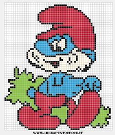 Papa Smurf x-stitch Perler Bead Templates, Perler Patterns, Cross Stitch Charts, Cross Stitch Patterns, Cross Stitching, Cross Stitch Embroidery, Modele Pixel Art, Needlepoint Stitches, Perler Bead Art