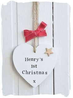 First Christmas Wooden Heart Decoration www.bynicki.co.uk