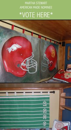Sports Themed Hanging Wall Murals for KIds Rooms: Juvenile Hall Design; creators of kids room design & decor.  Please support us with your vote! #juvenilehalldesign http://www.marthastewart.com/americanmade/nominee/80332?xsc=SOC_AM_NomFB