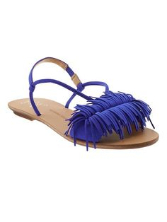Rock the fringe trend in our sleek blue suede sandal. Pair with a flowy spring dress or slim black jeans for a fun spring outfit | Banana Republic