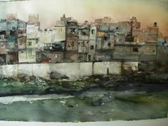 The Angry Arabs' comments section: Lars Lerin: Benares (top) and New Delhi Watercolor Sunset, Watercolor Artists, Watercolor Techniques, Artist Painting, Watercolour Paintings, Urban Landscape, All Art, Modern Art, Art Drawings