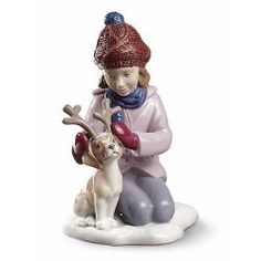 Lladro Child Girl Christmas 01009130  MY LITTLE REINDEER 9130 New in  Box