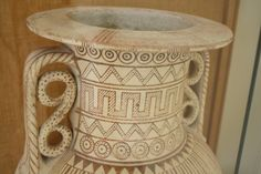 A detail of a 7th century BCE amphora displaying the common design motifs of the Geometric style of Greek pottery. The style was in use from 900 to 600 BCE in the Greek world and involved decorating vessels...