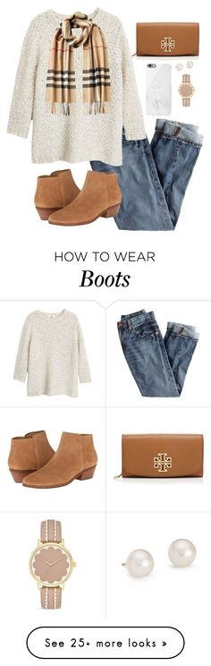 """""""Burberry and Boots"""" by lilyhkeville on Polyvore featuring Tory Burch, Native Union, J.Crew, Jack Rogers, MANGO, Kate Spade, Blue Nile and Burberry"""