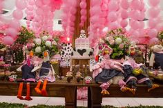Decoração de festa infantil tema Fazendinha Rosa - Casa e Festa