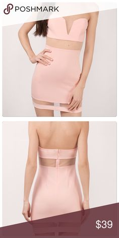 """Blush please pink  plunge mesh bodycon dress S Brand new with tags. Detachable straps included. Boning in bust. Strapless plunge deep V neck bodycon dress with mesh insert. Length 25.5""""  waist 24"""" bust 32/34"""" Super cute and feminine. Polyester/spandex. 🌷 Tobi Dresses Mini"""