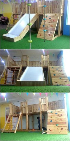 Pallets Wooden Made Kids Playground The idea is perfect to . - Pallets Wooden Made Kids Playground The idea is perfect to be created by the p - Kids Outdoor Play, Kids Play Area, Backyard For Kids, Diy For Kids, 3 Kids, Kids Room, Baby Deco, Backyard Playground, Playground Kids
